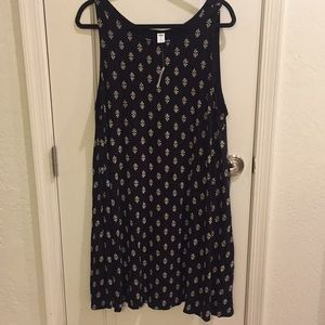 NWT Old Navy Black Print Swing Tank Dress